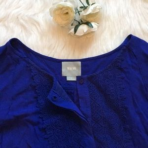 Royal Blue Crochet Detailed Top